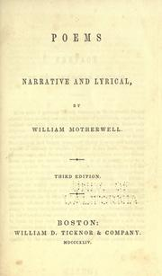 Cover of: Poems, narrative and lyrical by William Motherwell