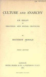 Cover of: Culture and anarchy | Matthew Arnold