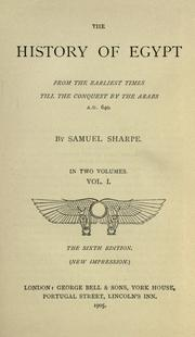 Cover of: The history of Egypt by Samuel Sharpe
