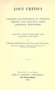 Cover of: Loci critici by Saintsbury, George