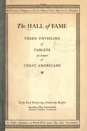 Cover of: The Hall of fame by New York University.