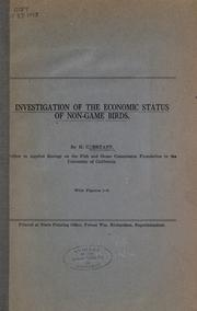 Cover of: Investigation of the economic status of non-game birds by Bryant, H. C.