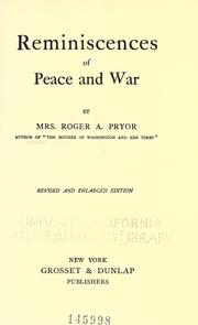 Cover of: Reminiscences of peace and war by Sara Agnes Rice Pryor