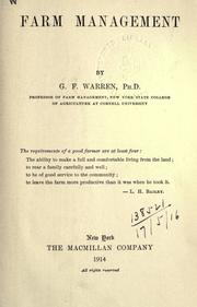Cover of: Farm management by George F. Warren