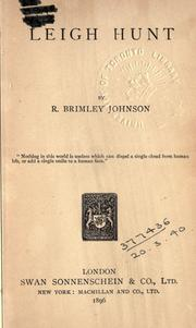 Cover of: Leigh Hunt by R. Brimley Johnson