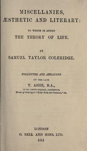 Cover of: Miscellanies, aesthetic and literary by Samuel Taylor Coleridge