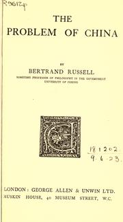 Cover of: The Problem of China by Bertrand Russell