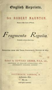 Cover of: Fragmenta regalia by Naunton, Robert Sir