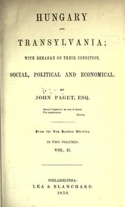 Cover of: Hungary and Transylvania by Paget, John
