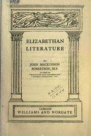 Cover of: Elizabethan literature by John Mackinnon Robertson