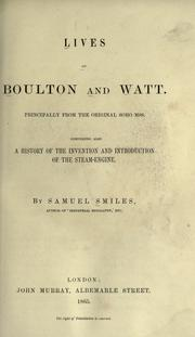 Cover of: Lives of Boulton and Watt by Samuel Smiles