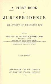 Cover of: A first book of jurisprudence for students of the common law by Pollock, Frederick Sir