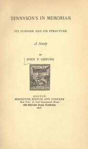 Cover of: Tennyson's In memoriam by Genung, John Franklin