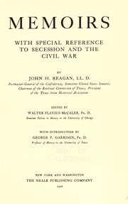 Cover of: Memoirs, with special reference to secession and the Civil War by John H. Reagan