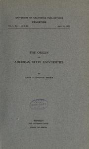 Cover of: The origin of American state universities by Elmer Ellsworth Brown