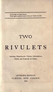 Cover of: Two rivulets by Walt Whitman