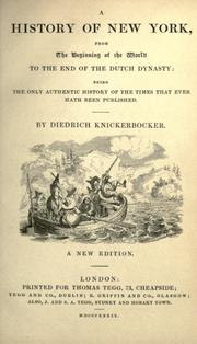 Cover of: A history of New York by Diedrich Knickerbocker