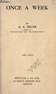 Cover of: Once a week by A. A. Milne