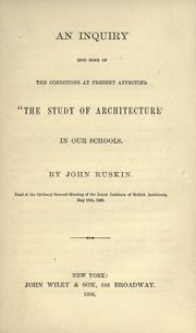 "Cover of: An inquiry into some of the conditions at present affecting ""the study of architecture"" in our schools by John Ruskin"