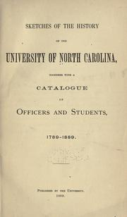 Cover of: Sketches of the history of the University of North Carolina by University of North Carolina at Chapel Hill.