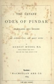 Cover of: The extant odes of Pindar by Pindar., Pindar
