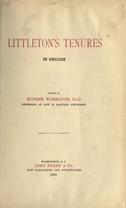 Cover of: Tenures by Thomas de Littleton