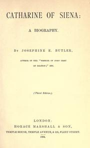 Cover of: Catharine of Siena by Josephine Elizabeth Grey Butler