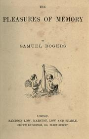 Cover of: The pleasures of memory by Samuel Rogers