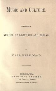 Cover of: Music and culture by Karl Merz