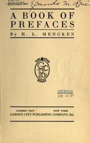 Cover of: A book of prefaces by H. L. Mencken