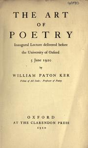 Cover of: The art of poetry by W. P. Ker