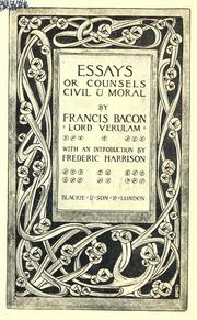Cover of: Essays by Sir Francis Bacon, Francis Bacon