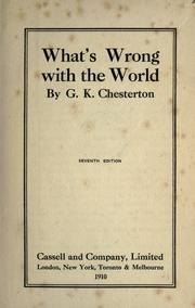 Cover of: What's wrong with the world by G. K. Chesterton