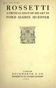 Cover of: Rossetti by Ford Madox Ford