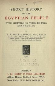 Cover of: A short history of the Egyptian people by Ernest Alfred Wallis Budge