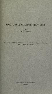 Cover of: California culture provinces by A. L. Kroeber
