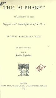 Cover of: The alphabet by Taylor, Isaac