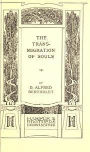 Cover of: The transmigration of souls by Alfred Bertholet