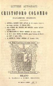 Cover of: Lettere autografe di Cristoforo Colombo nuovamente stampate by Christopher Columbus
