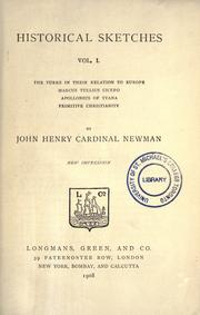 Cover of: Historical sketches by John Henry Newman