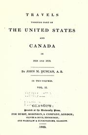 Cover of: Travels through part of the United States and Canada in 1818 and 1819 by Duncan, John M.