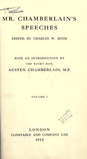Cover of: Mr. Chamberlain's speeches by Joseph Chamberlain