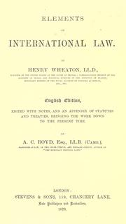 Cover of: Elements of international law by Henry Wheaton