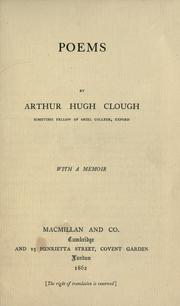 Cover of: Poems by Arthur Hugh Clough