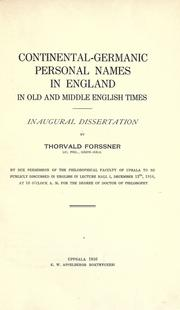 Cover of: Continental-Germanic personal names in England in old and middle English times by Forssner, Thorvald.