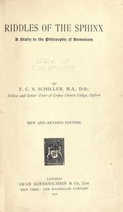Cover of: Riddles of the sphinx by Schiller, F. C. S.