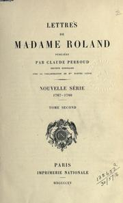 Cover of: Lettres by Roland Mme