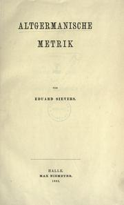 Cover of: Altgermanische metrik by Sievers, Eduard