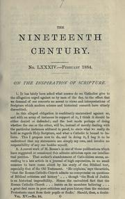 Cover of: On the inspiration of Scripture by John Henry Newman