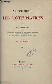 Cover of: Les contemplations by Victor Hugo